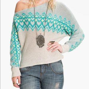 Free People Off Shoulder Cropped Ski Sweater